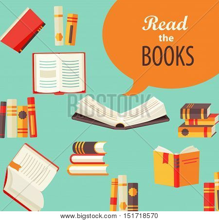 Set of books - design for book publishing, the concept of learning in school or University. Flat style, vector illustration.