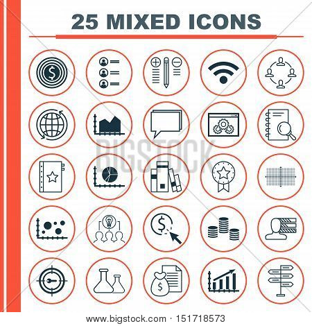 Set Of 25 Universal Icons On Opportunity, Square Diagram, Present Badge And More Topics. Vector Icon