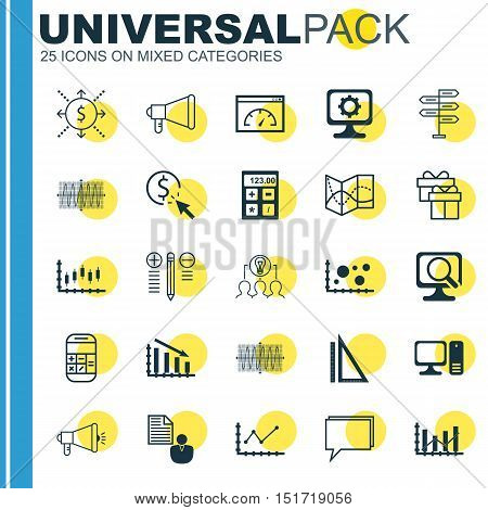 Set Of 25 Universal Icons On Laptop, Report, Road Map And More Topics. Vector Icon Set Including Loa