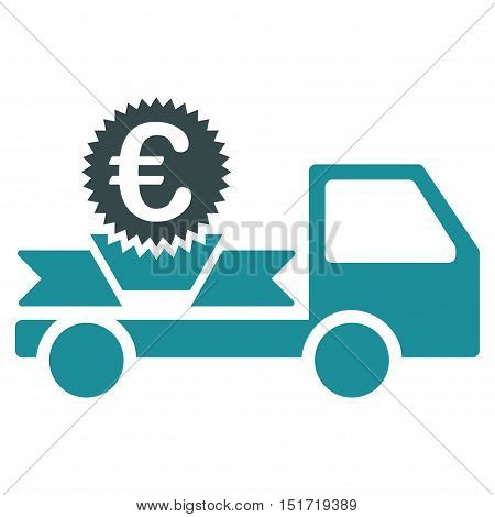 Euro Gift Delivery icon. Vector style is bicolor flat iconic symbol, soft blue colors, white background.