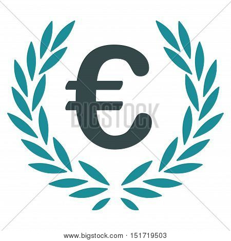 Euro Laurel Wreath icon. Vector style is bicolor flat iconic symbol, soft blue colors, white background.