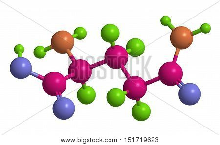 Molecular structure of L - glutamine (important amino acid) 3D rendering