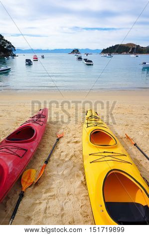 Two kayak boats, close up. Kaiteriteri beach. Gateway to Abel Tasman National Park.