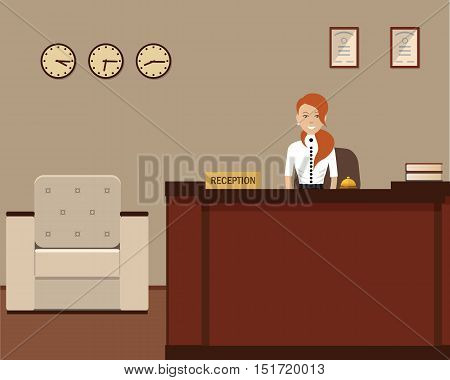 Hotel reception. Young woman receptionist stands at reception desk. Travel, hospitality, hotel booking concept. Vector flat illustration