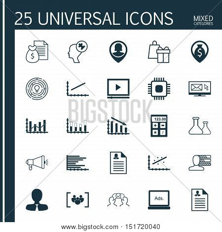 Set Of 25 Universal Icons On Media Campaign, Questionnaire, Newsletter And More Topics. Vector Icon