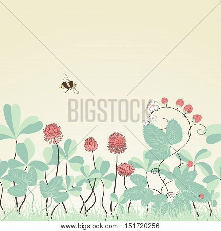 Seamless vector background. Clover and strawberry plants. Bumble bee and ladybug. Colors are easily editable. Suitable as background for the site and for printing. Can also be used as a greeting card.