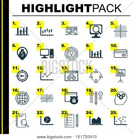 Set Of 25 Universal Icons On Graphical Grid, Presentation, Stock Market And More Topics. Vector Icon