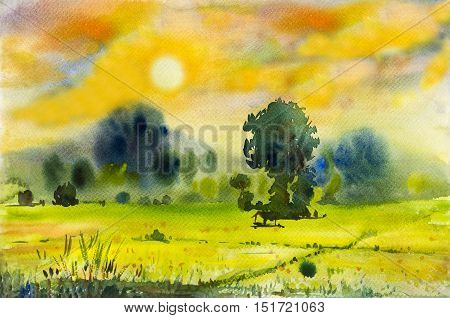 Watercolor landscape original painting colorful of rice field in countryside and emotion in sunset mountain and emotion in cloud background