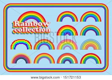 Collection if differents style and colors of rainbows, classics, vintage, girly and pixel