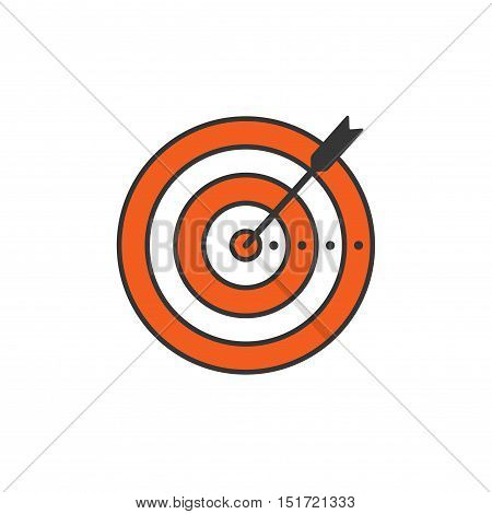 Target and arrow icon vector illustration isolated on white background line outline style