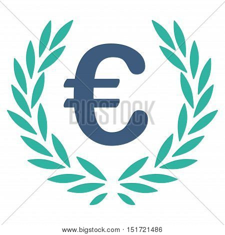 Euro Laurel Wreath icon. Vector style is bicolor flat iconic symbol, cobalt and cyan colors, white background.