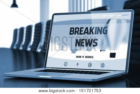 Closeup Breaking News Concept on Landing Page of Laptop Screen in Modern Meeting Room. Blurred Image with Selective focus. 3D Rendering.