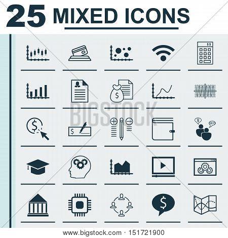 Set Of 25 Universal Icons On Decision Making, Investment, Business Deal And More Topics. Vector Icon
