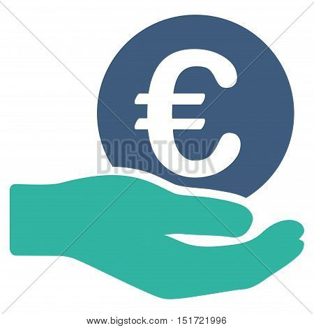 Euro Salary icon. Vector style is bicolor flat iconic symbol, cobalt and cyan colors, white background.