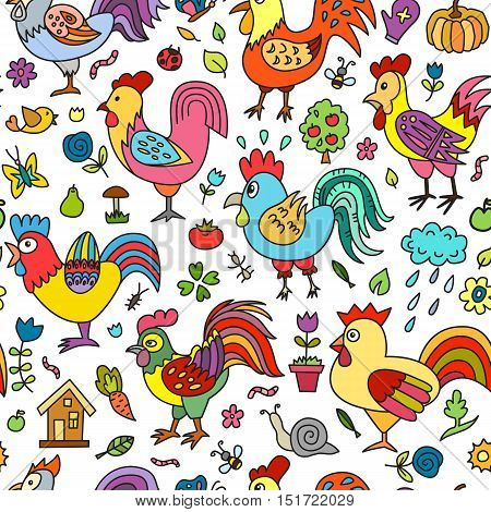 Farm items. Roosters collection. Seamless pattern can be used for wallpaper pattern fills web page background surface textures.