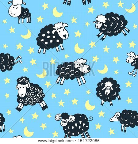 Seamless pattern with sheep in night. Can be used for textile website background book cover packaging.