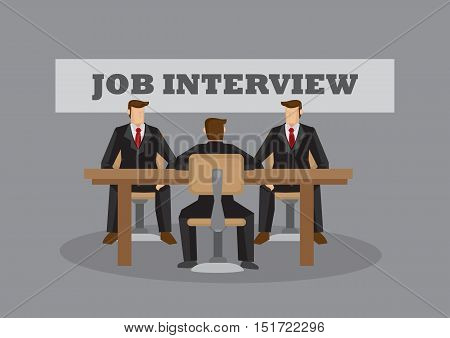 Cartoon man in suit sitting at desk in front of two interviewers with banner in background saying Job Interview. Vector illustration for business situation.