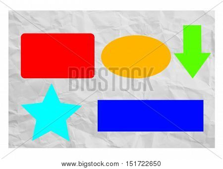 Torn paper background with simple geometric shapes in bright colors and copy space