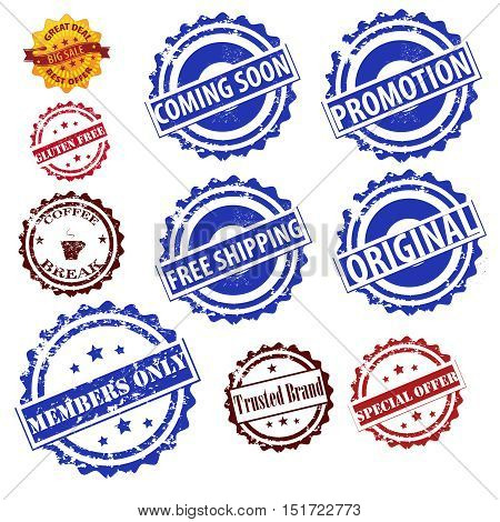 Stamps grunge set vector collection isolated on white