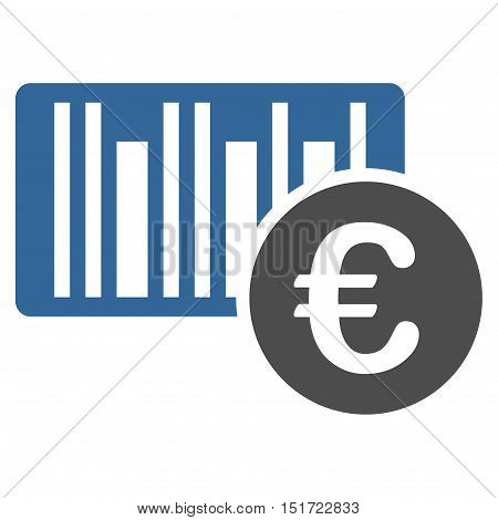 Euro Bar Code Price icon. Vector style is bicolor flat iconic symbol, cobalt and gray colors, white background.