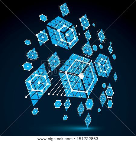 Bauhaus art 3d modular blue vector backdop made using hexagons and circles. Retro style pattern perspective graphic backdrop for use as booklet cover template. Engineering system.