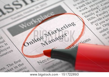 A Newspaper Column in the Classifieds with the Vacancy of Online Marketing Manager, Circled with a Red Highlighter. Blurred Image with Selective focus. Hiring Concept. 3D Rendering.