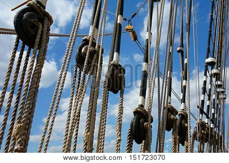 View of the mast boom and ropes great historic sailboat.
