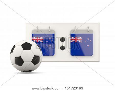 Flag Of New Zealand, Football With Scoreboard