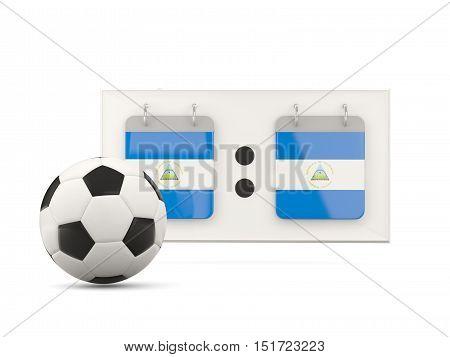 Flag Of Nicaragua, Football With Scoreboard