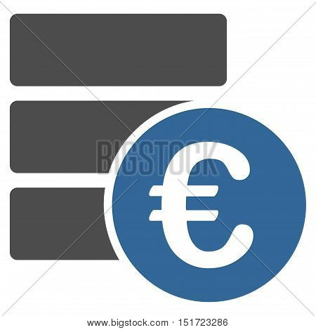 Euro Database icon. Vector style is bicolor flat iconic symbol, cobalt and gray colors, white background.