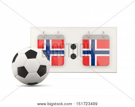 Flag Of Norway, Football With Scoreboard