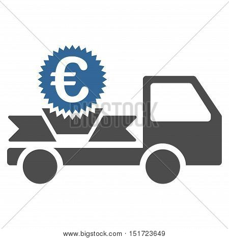 Euro Gift Delivery icon. Vector style is bicolor flat iconic symbol, cobalt and gray colors, white background.