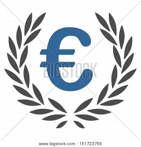 Euro Laurel Wreath icon. Vector style is bicolor flat iconic symbol, cobalt and gray colors, white background.