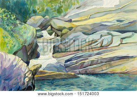Watercolor landscape original painting colorful of waterfall and emotion in green leaves background
