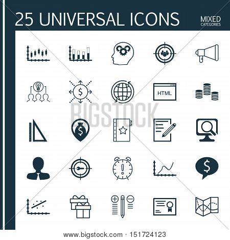 Set Of 25 Universal Icons On Laptop, Road Map, Decision Making And More Topics. Vector Icon Set Incl