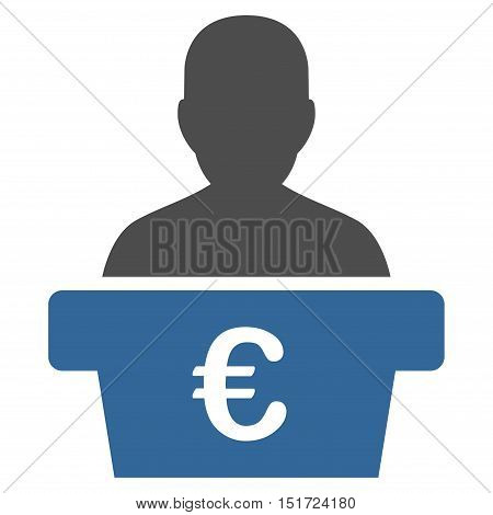 Euro Politician icon. Vector style is bicolor flat iconic symbol, cobalt and gray colors, white background.