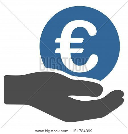 Euro Salary icon. Vector style is bicolor flat iconic symbol, cobalt and gray colors, white background.
