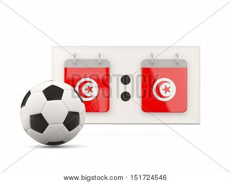 Flag Of Tunisia, Football With Scoreboard