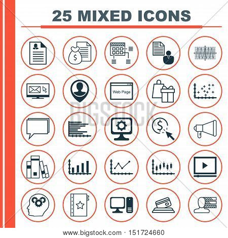 Set Of 25 Universal Icons On Bars Chart, Credit Card, Female Application And More Topics. Vector Ico