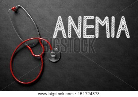 Medical Concept: Anemia -  Black Chalkboard with Hand Drawn Text and Red Stethoscope. Top View. Medical Concept: Anemia Handwritten on Black Chalkboard. 3D Rendering.