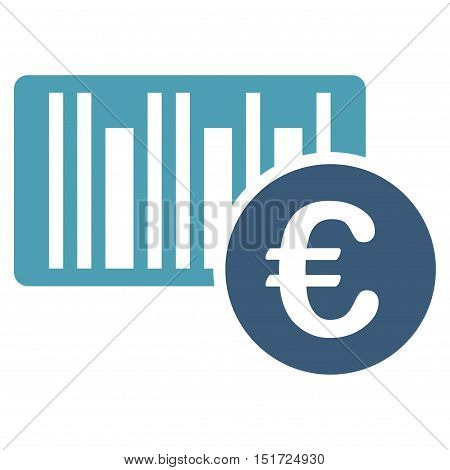 Euro Bar Code Price icon. Vector style is bicolor flat iconic symbol, cyan and blue colors, white background.
