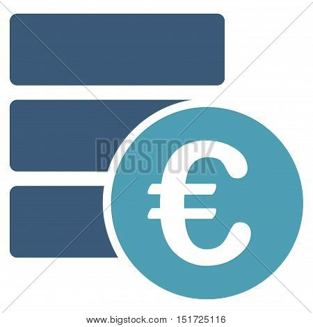 Euro Database icon. Vector style is bicolor flat iconic symbol, cyan and blue colors, white background.