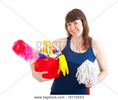 Young Woman Is Ready For Cleaning
