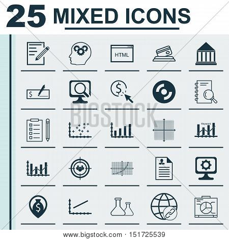 Set Of 25 Universal Icons On Ppc, Blank Cd, Reminder And More Topics. Vector Icon Set Including Chem