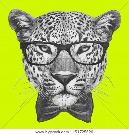 Original drawing of Leopard with glasses and bow tie. Isolated on colored background.