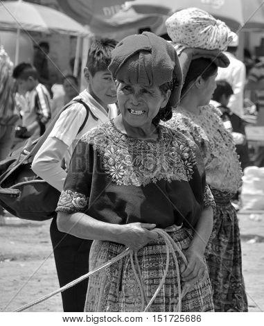 SANTIAGO DE ATITLAN GUATEMALA APRIL 29 2016: Portrait of a Mayan woman. The Mayan people still make up a majority of the population in Guatemala,