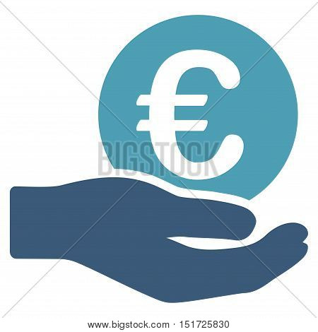 Euro Salary icon. Vector style is bicolor flat iconic symbol, cyan and blue colors, white background.