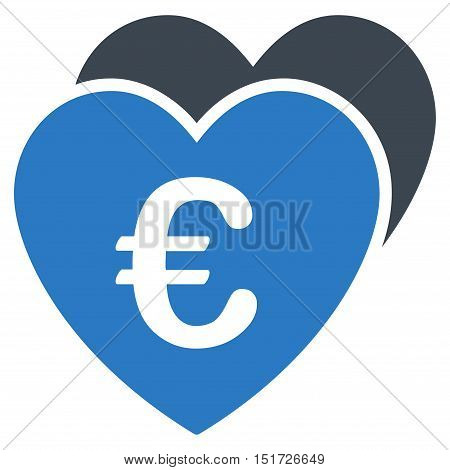 Euro Favorites Hearts icon. Vector style is bicolor flat iconic symbol, smooth blue colors, white background.
