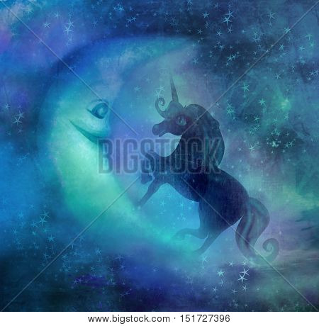 cute magic unicorn and moon on abstract background , vector illustration