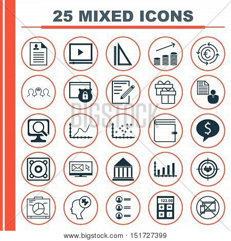 Set Of 25 Universal Icons On Present, Job Applicants, Education Center And More Topics. Vector Icon